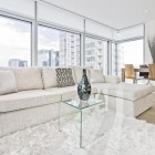 white shag area rug in a living room